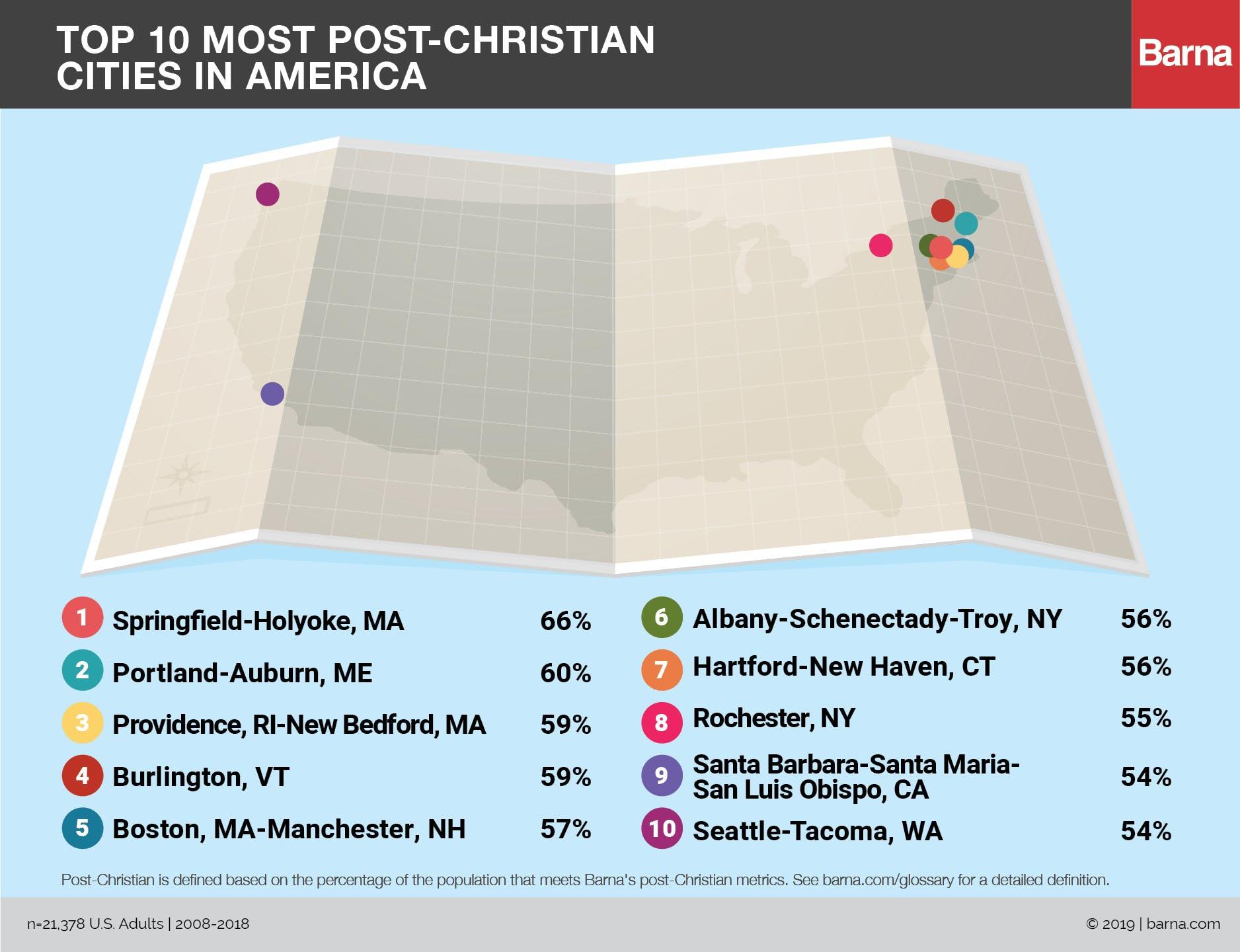 Las ciudades más post-cristianas en América: 2019