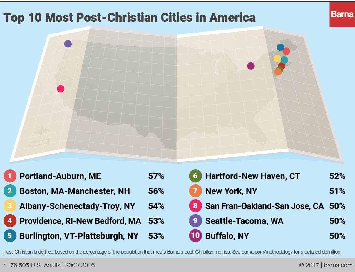 The Most PostChristian Cities In America Barna Group - Most unchurched cities in the us google maps